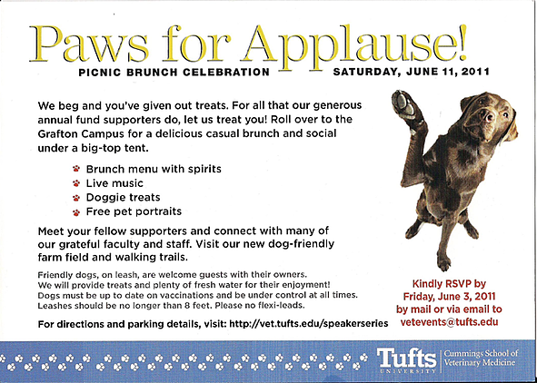 Invite to brunch for donors to Tufts Veterinary Hospital - Back