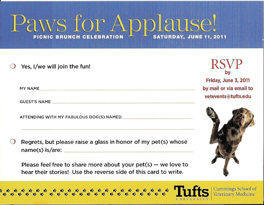 Invite to brunch for donors to Tufts Veterinary Hospital - RSVP