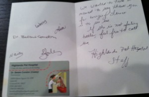 Highlands Pet Hospital Thank You Card inside