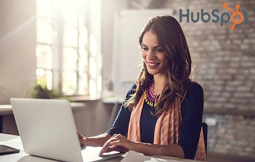 Hubspot Woman on Computer Image