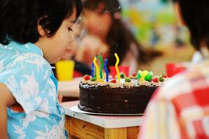 Many children having fun at birthday party