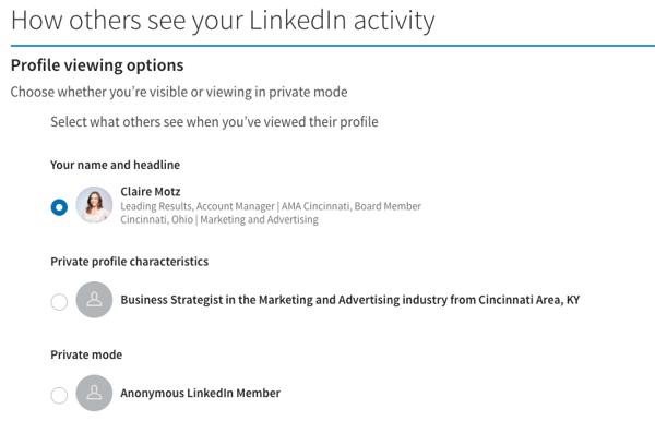 How others seeyour linkedin activity