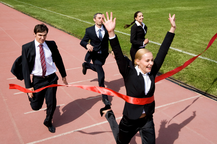 finish line, business team, race