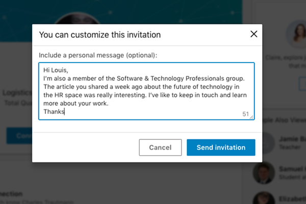 good example of a linkedin message 2