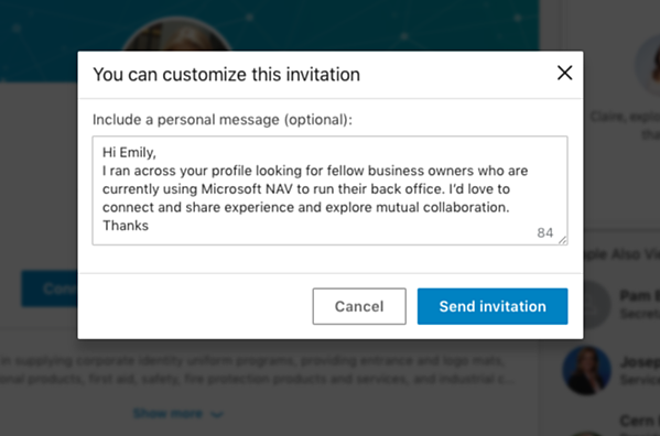 good example of a linkedin message
