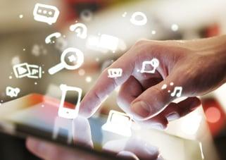 social media, tablet, icons