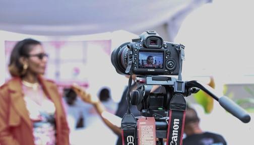video testimonial, camera, recording, interview