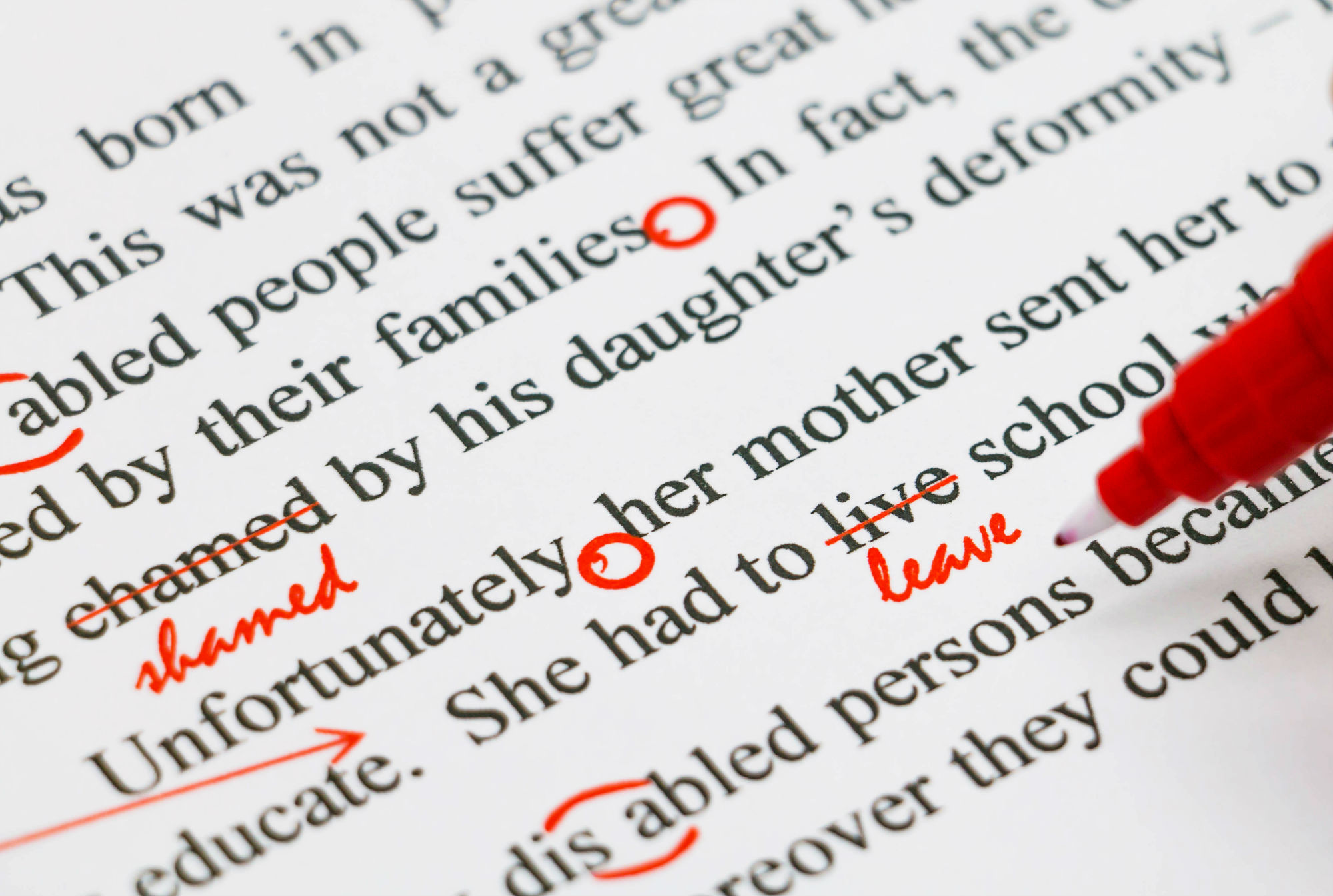 editing, red pen, correction, proofreading