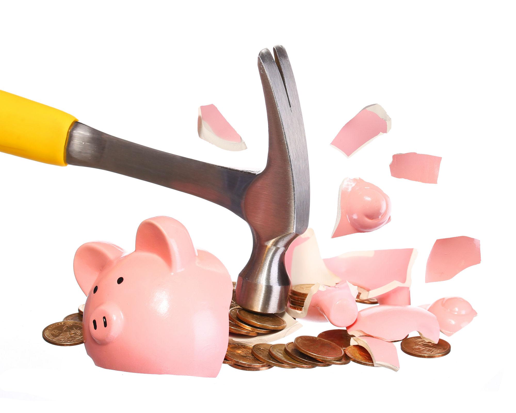 broken piggy bank, coins, money, hammer