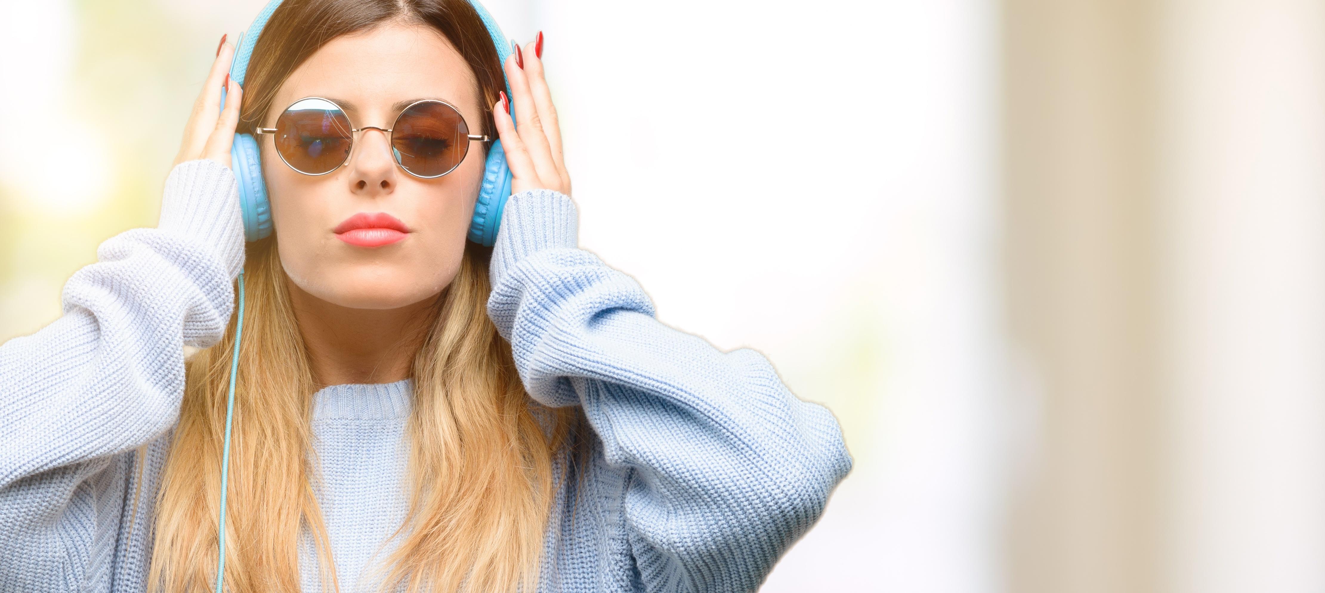 headphones, woman, music