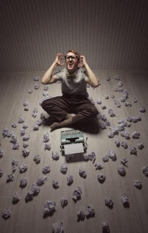 writer's block, paper balls, typewriter, frustrated writer-1